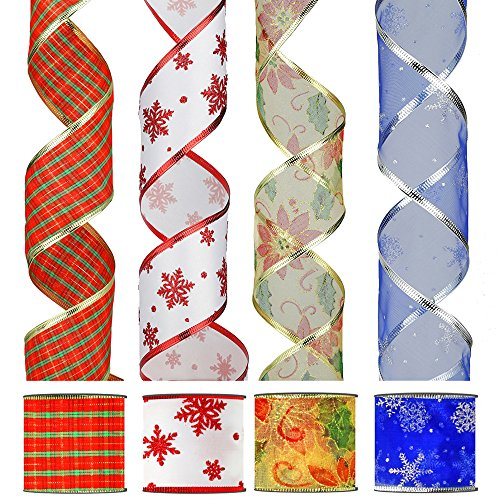 24 Yard Christmas Ribbon Wired Edge with Glitter Organza 2.5 Wide Red and Green Plaid, Blue with Silver Snowflakes, Gold with Poinsettia and White with red Snowflakes 4 Rolls x 6 Yards Holiday
