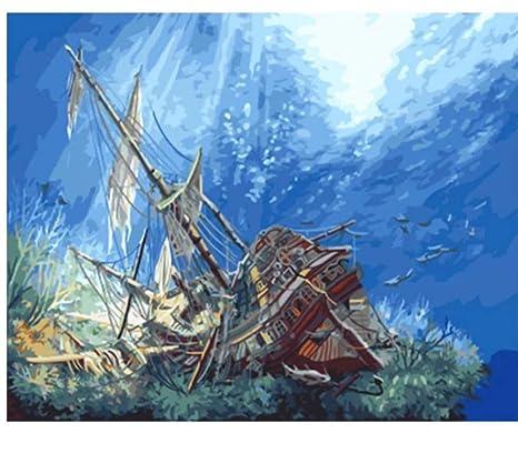 DIY Malen Schiff Nach Zahlen Malerei Ölgemälde Geschenk Wandbild Leinwand Deko
