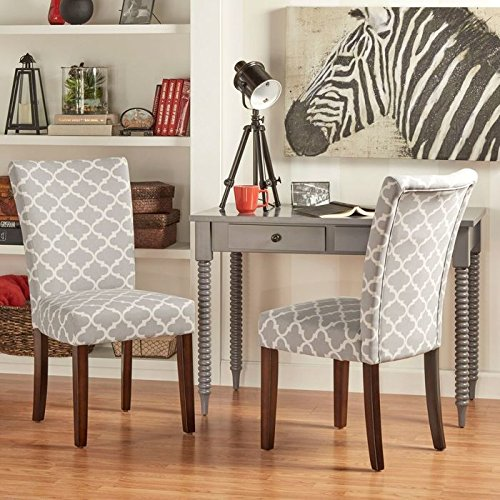 2-Piece Starlite Moroccan Upholstered Parsons Wooden Dining Chair 2 Piece Parson Chair