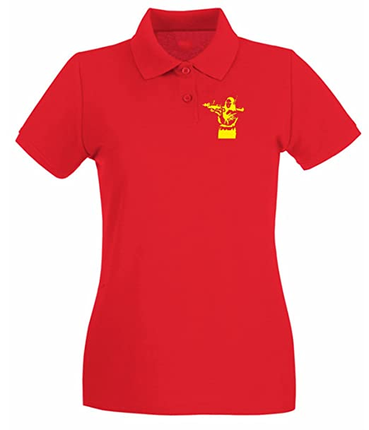 T-Shirtshock - Polo para mujer FUN0696 banksy mona lisa red mens cu ... 56e5408b48038