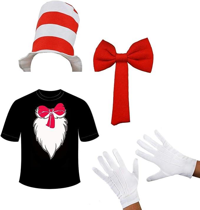 WickedFun® - Disfraz de gato con gorro de rayas, corbata de lazo ...