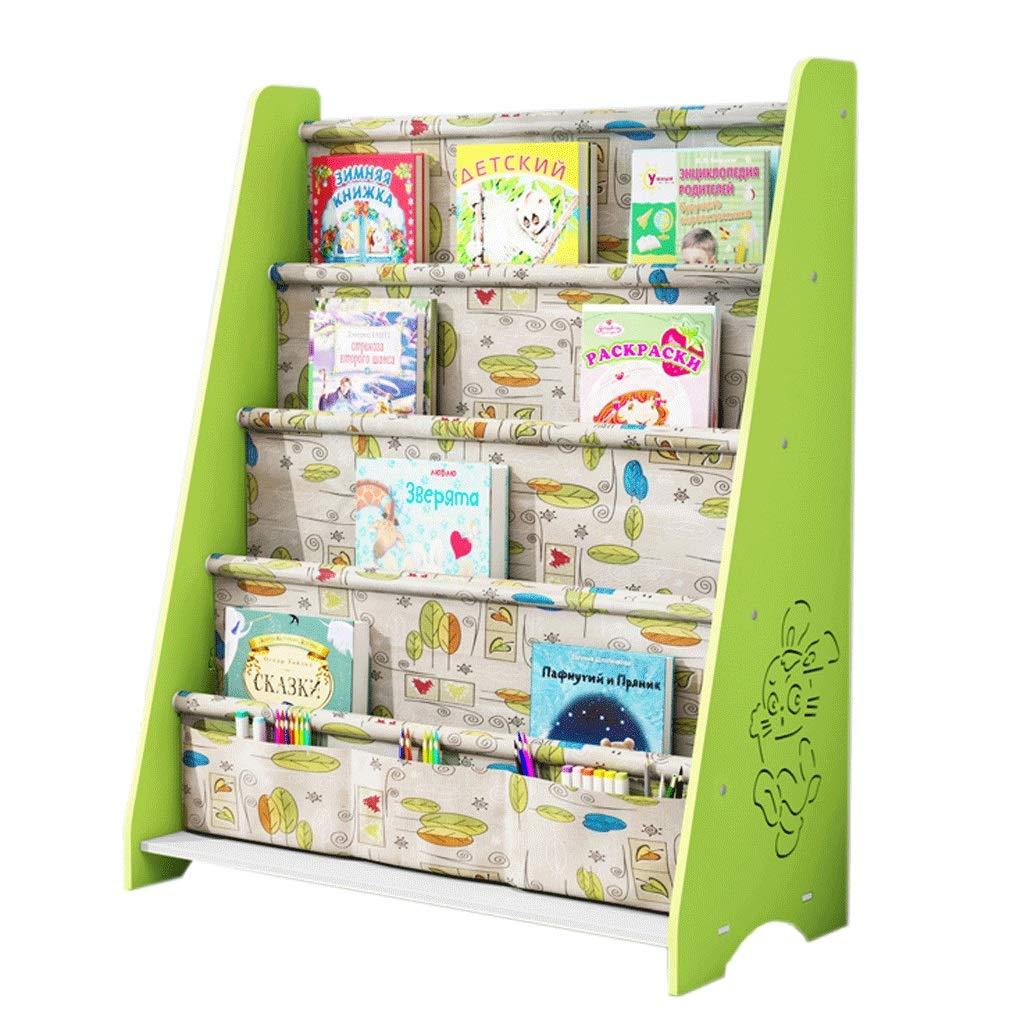 Bücherregal für Kinder, Bodenregal für Kinder, Bücherregal für Kinder, Aufbewahrungsregal für Kinder, Kreatives Bücherregal für Kinder, Cartoon-Bilderbuchhalter aus Kunststoff 60x28x76.3cm Grün