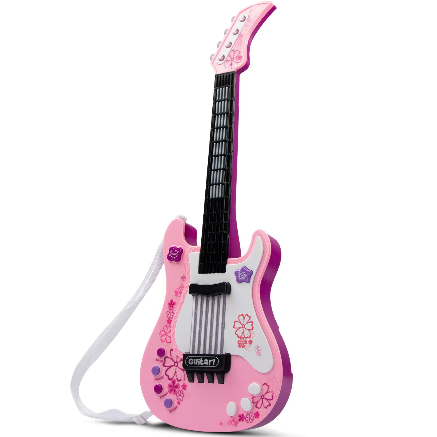 SAOCOOL Kids Guitar, Electric Guitar for Girls with Colored Lights Effect, No String Multifunction Musical Guitar Educational Toy for Girls and Boys (Pink) by SAOCOOL