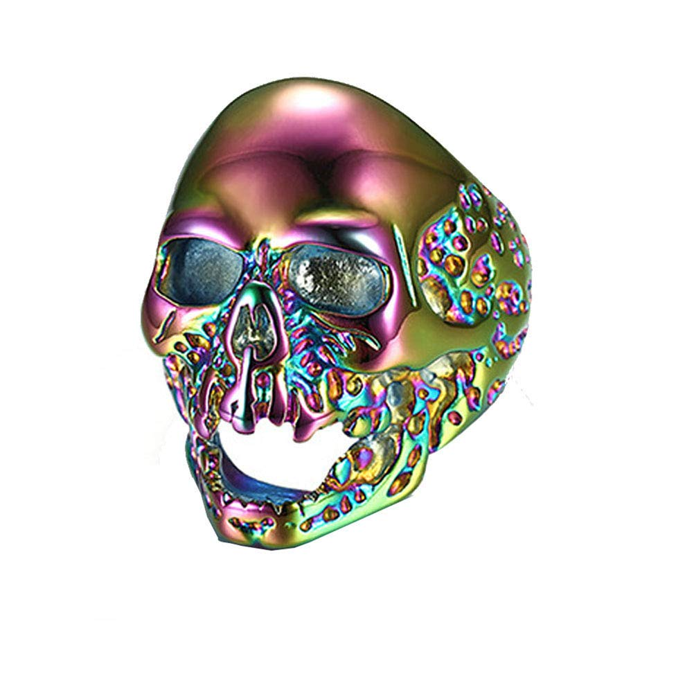 Wind Goal Titanium Steel Skull Head Ring Multicolor Stainless Steel Skeleton Devil Punk Ring Band for Halloween Party Dance