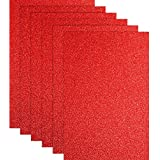 Blulu Glitter Heat Transfer Vinyl HTV for T-Shirts 10 x 12 Inches 6 Sheets (Red)