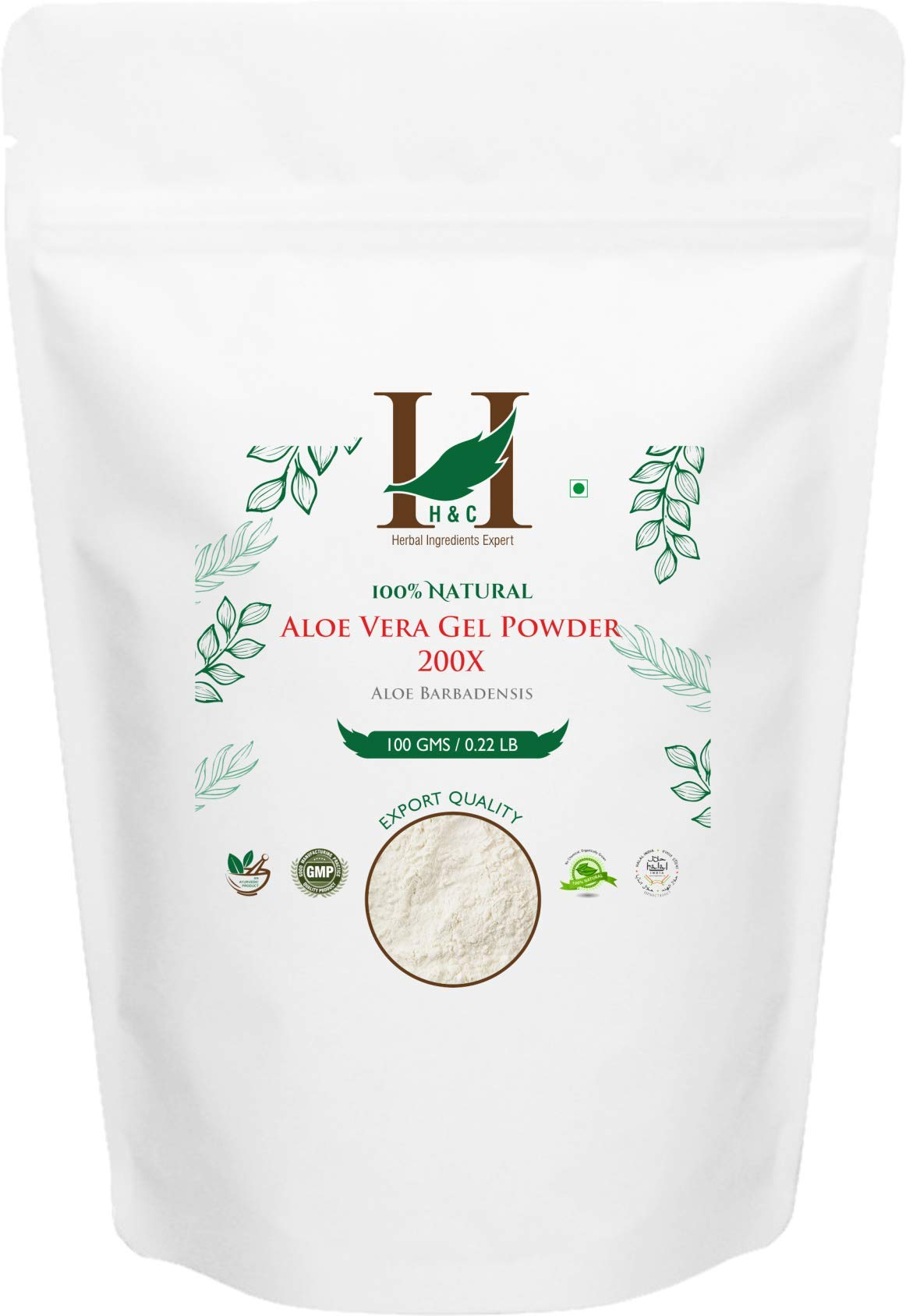 100% Pure Aloe Vera Gel Powder 200X - Highly Concentrated Spray Dried Gel Powder- (100g) Suitable for Health and Personal Care formulations