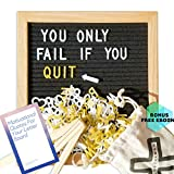 Black Felt Letter Board 10x10 inches. Changeable Letter Boards Include 340 White Plastic Letters & Oak Frame - Bonus 170 Gold Plastic Letters, Wooden Stand, Wall Mount and Canvas Bag - Free E-Book