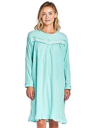 Casual Nights Women s Long Sleeve Micro Fleece Cozy Night Gown - Green -  Small 6728f5086a