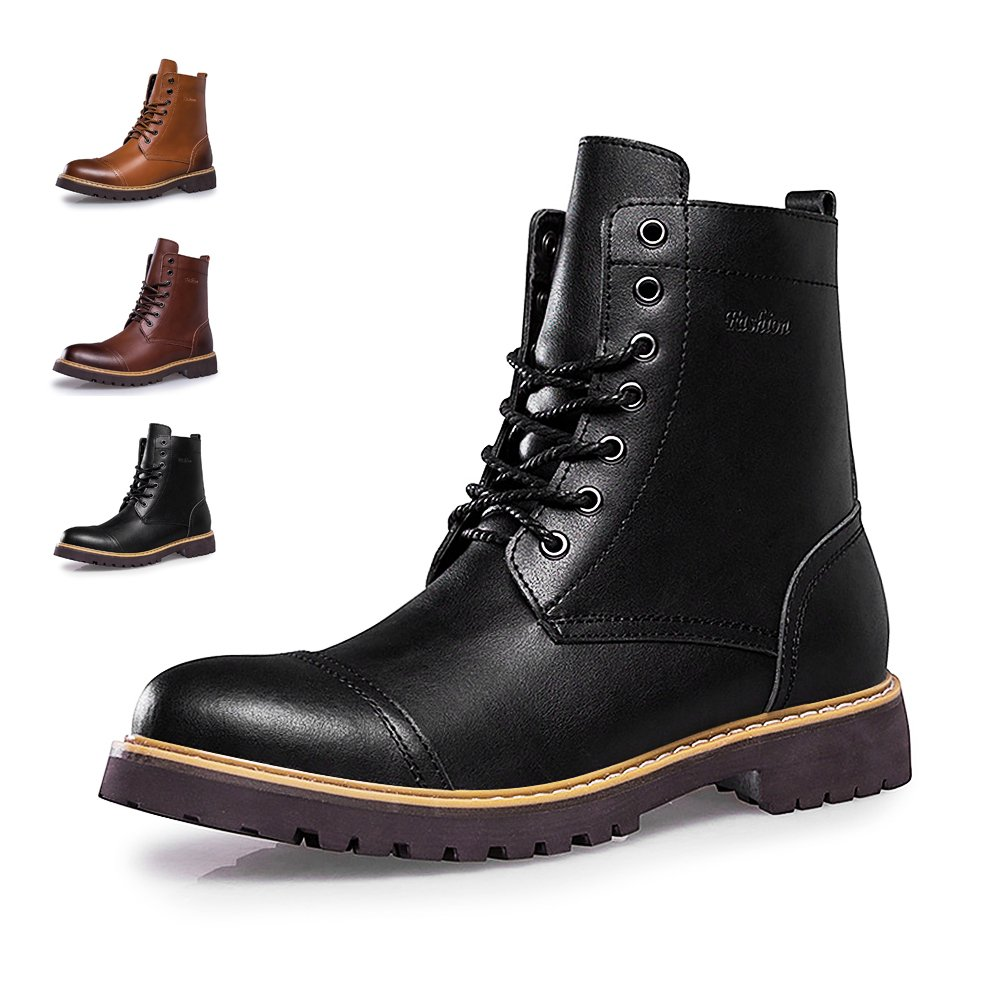 ENLEN&BENNA Work Boots for Men Motorcycle Dress Boot Casual Boot Fashion Boot Combat Boots Leather Waterproof Cap Toe Tan Black