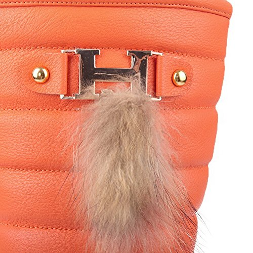 Toe with AmoonyFashion 5 PU Hollow Boots and Out Metalornament Womens M US PU Solid 9 Closed Material B Orange Soft Round qwtvAgt