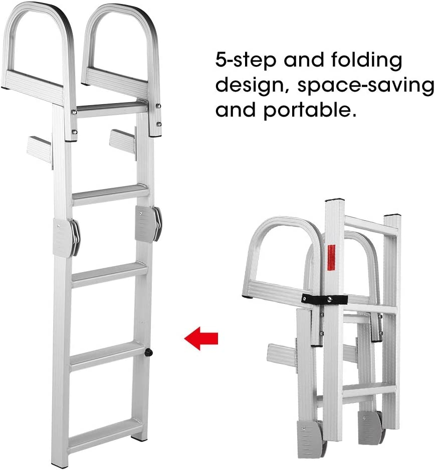 Ladder Aluminum Pontoon Marine Boat Ladder 5 Step Folding Ladder
