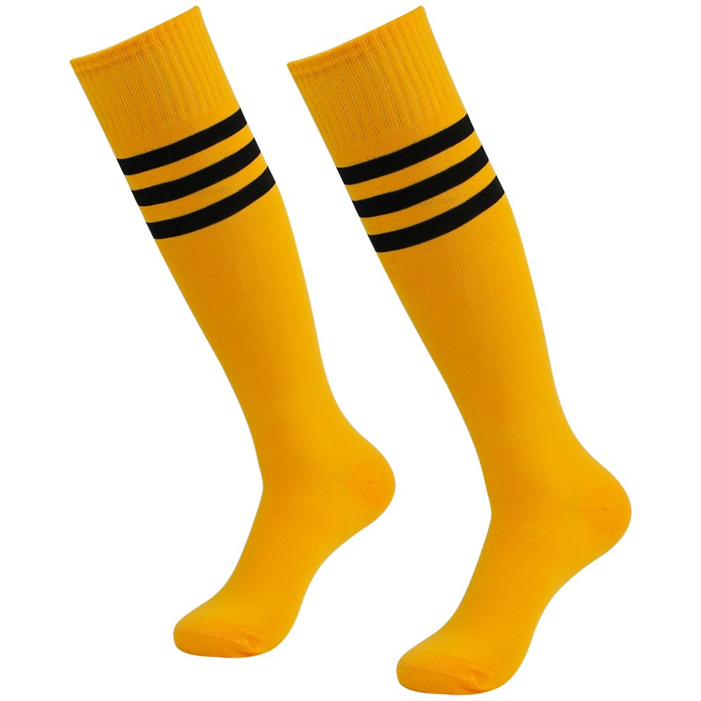 3street Unisex Prosport Thigh High Triple Stripe Comfy Athletic Breathable Football Baseball Socks for Gift Orange 2-Pairs,7-13 by Three street