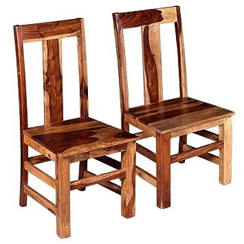 VidaXL 2 X Esszimmerstuhl Holzstuhl Küchenstuhl Stuhl Massives Sheesham Holz