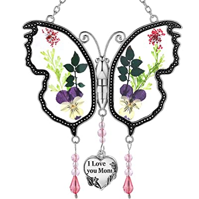 KY&BOSAM I Love You Mom New Butterfly Suncatcher Glass Wind Chime SunCatchers Gifts for Grandma Day for Grandma Birthdays (I Love You Mom) : Garden & Outdoor