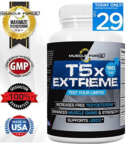 T5X Extreme Testosterone Booster for Muscle Growth Libido Enhancement Multi-Ingredient Formula, Tribulus, Fenugreek More One Bottle, 180 Tablets 2nd Messenger Set 5x Optimizing Complex
