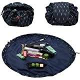 ZDU Cosmetic Makeup Bag Toiletry Kit Organizer Large Capacity Lazy Pouch Multifunction Storage Waterproof Travel Bag with Zipper and Drawstrings Brush Holder