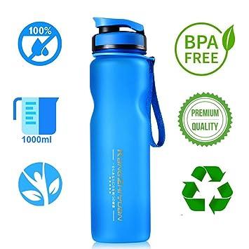 Botella de Agua Leak Proof 1L1000ml Libre de BPA Plástico ecologicaa | Botella Agua con Tapón
