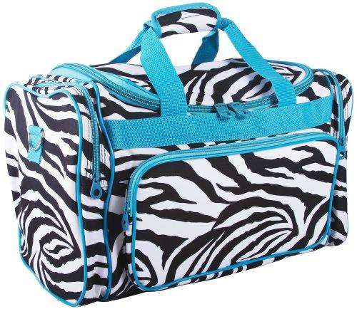 Ever Moda Zebra Print Medium Duffle Bag (Blue)
