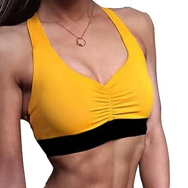 Shujin Femme Brassiere de Sports Push-up Soutien-Gorge de Yoga  Demi-Camisole Running sous-vêtement Lingeries Mince Ultra Corps Tops Gilet  sans Armature  ... 8a239bb84aa