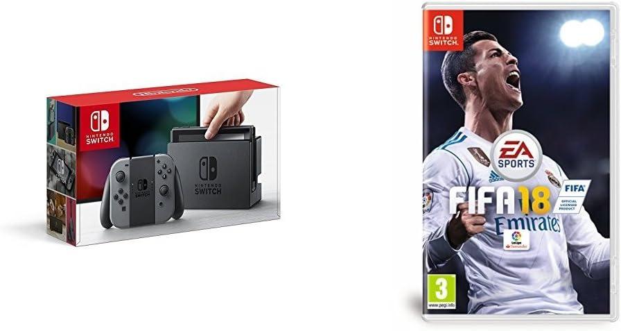 Nintendo Switch - Consola, color gris + FIFA 18 - Edición estándar: Amazon.es: Videojuegos
