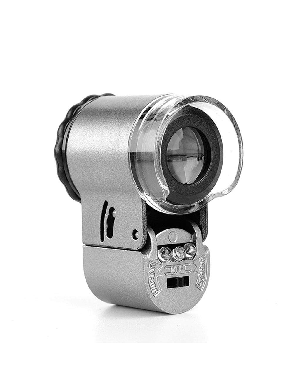 Magnifying 50 Times High-definition Micro Magnifying Glass, Two-color Light Source, Mini Microscope, Portable Philatelic Jewelry, Tea Smoke Stamp, Identification of Banknote Prints, Etc. Elderly Readi