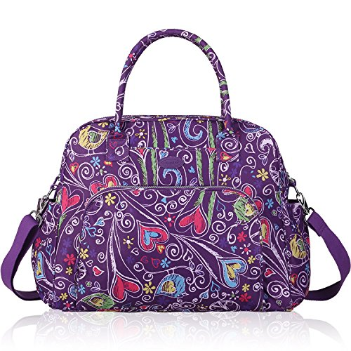 Lily & Drew Carry On Weekender Overnight Travel Shoulder Bag for 15.6 Inch Laptop Computers for Women (Purple-Peace-Hearts) ()