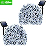 ADDLON 2 Pack Solar String Lights 72ft 22m 200 LED 8 Modes Solar Powered Xmas Outdoor Lights Waterproof Starry Christmas Fairy Lights for Indoor Gardens Homes Wedding Holiday Party (White)