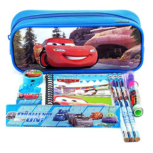 Disney Car Blue Pencil Case and Stationery Set ()