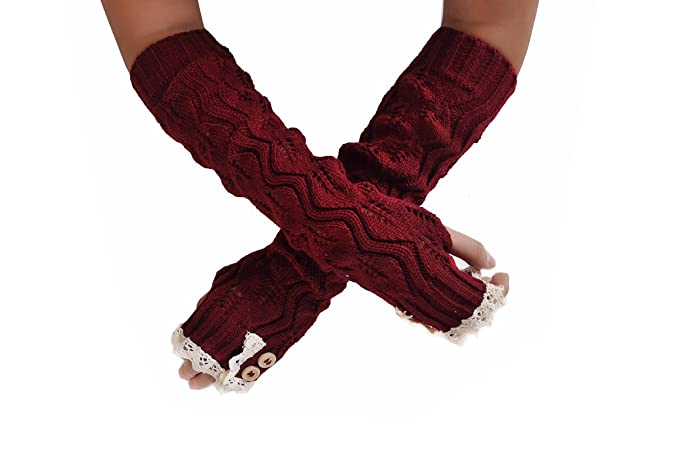 70d2b41b5 Sizzle City Cable Knit Lace Trim with Button Arm Gloves, Fingerless Gloves,  Winter Gloves
