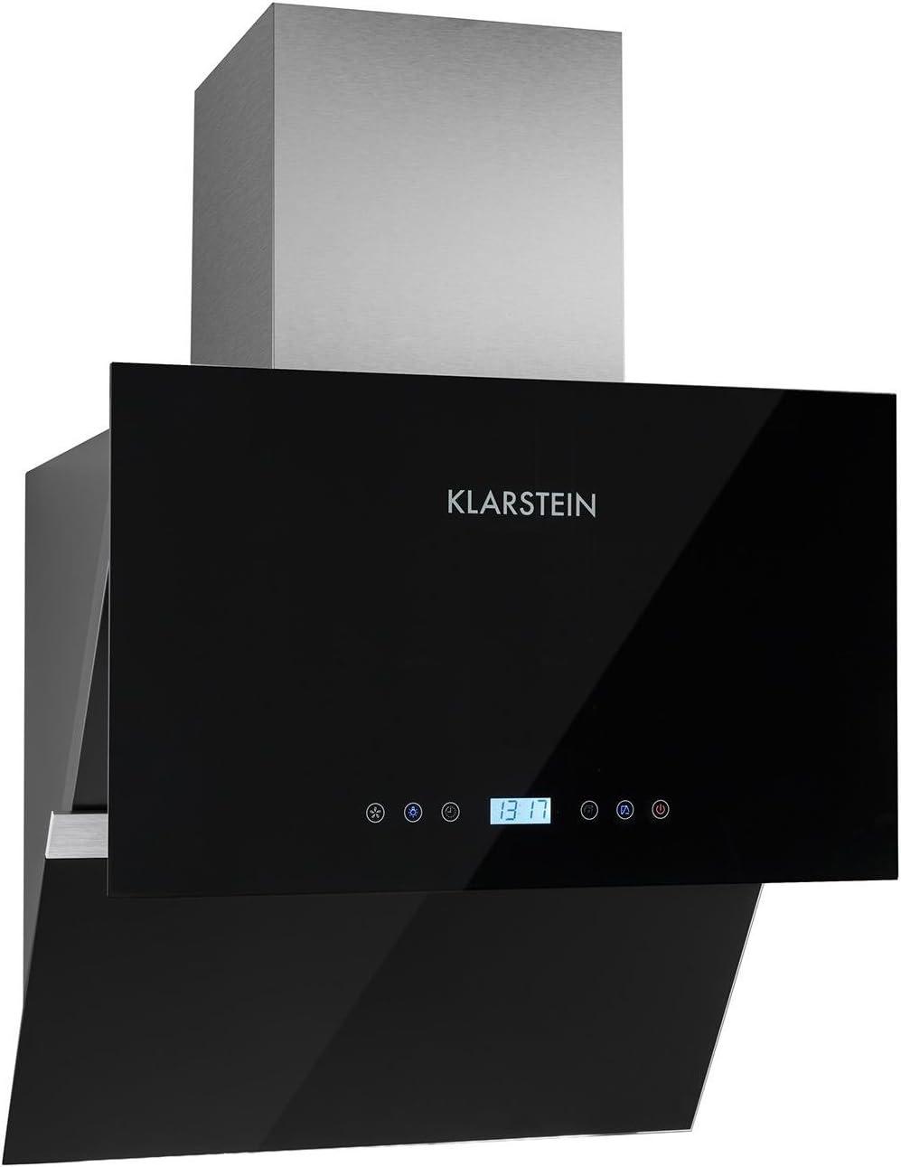Klarstein Aurea VII - Campana extractora, Extractor, Extractor de pared, Aspiración/Ventilación, 3 Niveles, Potencia 620 m³/h, Panel táctil, Montaje en pared, 60 cm, Control remoto, Negro