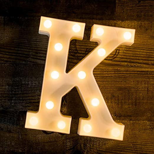 Foaky LED Letter Lights Sign Light Up Letters Sign for Night Light Wedding/Birthday Party Battery Powered Christmas Lamp Home Bar Decoration(K)