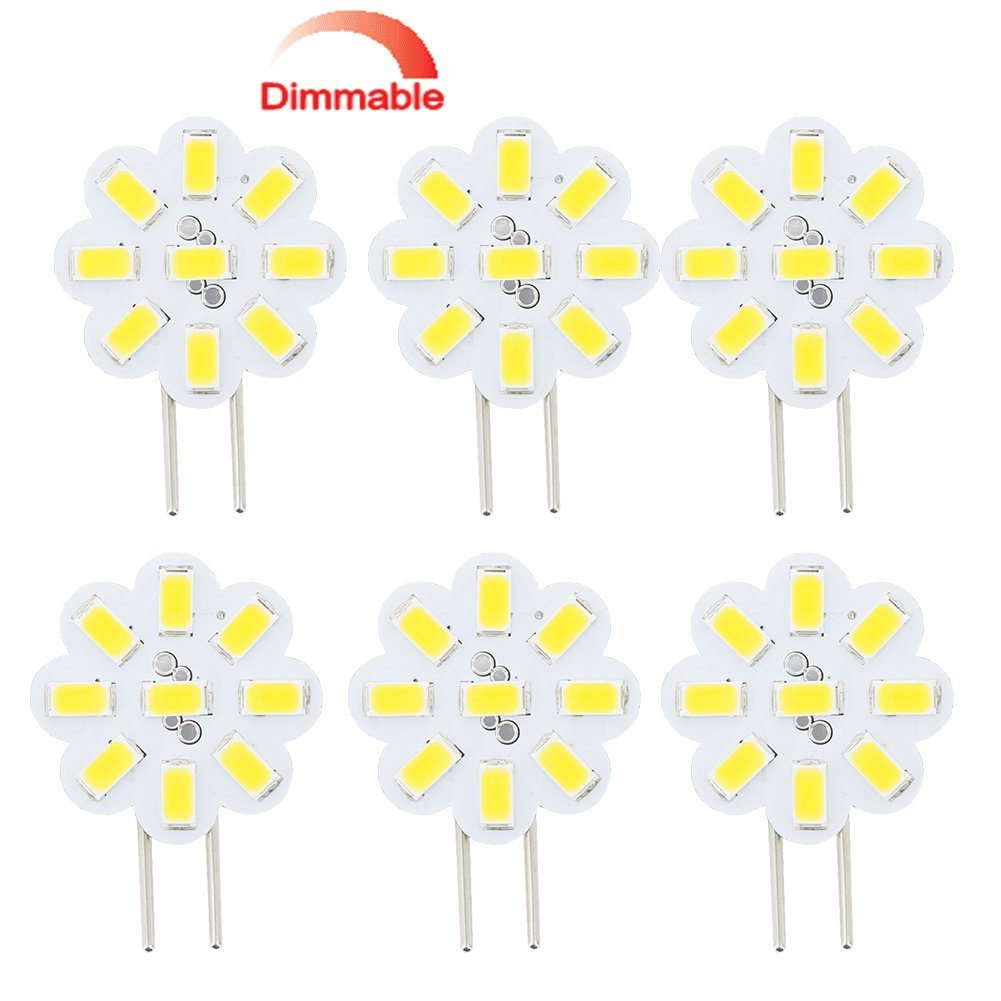 Best to Buy® (6-PACK) Dimmable 2.4Watt T4 G4 DISC puck LED 9SMD 5730LED, Warm White (Jc10 Bi-pin 14-17W Replacement) for RV Campers, Trailers, Boats, and Under-cabinet Light ...