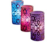 UKayed ® Hand Crafted Flameless Colour Changing Mood Candles - 3 Pack - Scented - Detailed Printed Design -