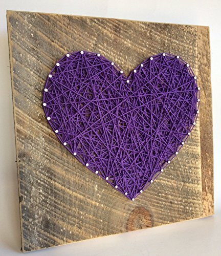 Large Purple string art heart reclaimed wood sign. A unique gift for Mother's Day, Weddings, Anniversaries ,Birthdays, Valentine's Day, Christmas, new babies, house warming and just because. from Nail it Art