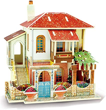 Model Puzzle Beautiful House Building Kits DIY Wooden Kids Adults Toys G