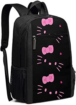 Travel Laptop Backpack Black And Pink Hello Kitty College School Bookbag Computer Bag Casual Daypack For Women Men