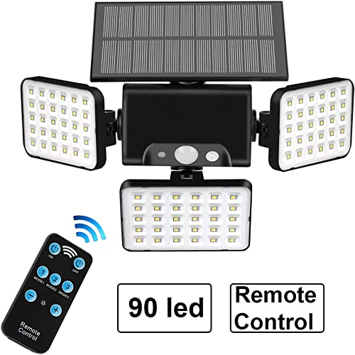 Auzev 90 LEDs Remote Solar Lights Outdoor Wireless Motion Sensor Security Night Light with 3 Rotatably Adjustable Heads Remote Control 3 Lighting Modes for Your Porch,Yard, Garden 1-Pack
