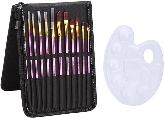 Pinceles multifuncionales de nailon para pintura, con paleta y funda para acuarela óleo acrílico pintura facial maquillaje morado 12 piezas: Amazon.es: Hogar