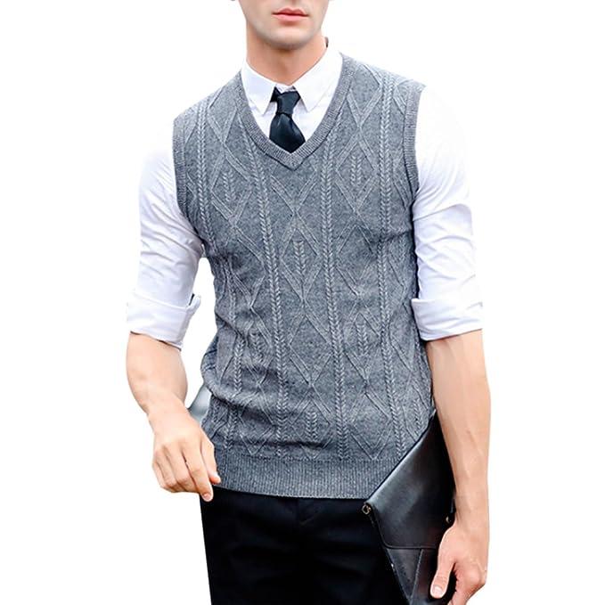 Zhhlinyuan Mens Mens Middle-Aged V-Neck Solid Color Business ...