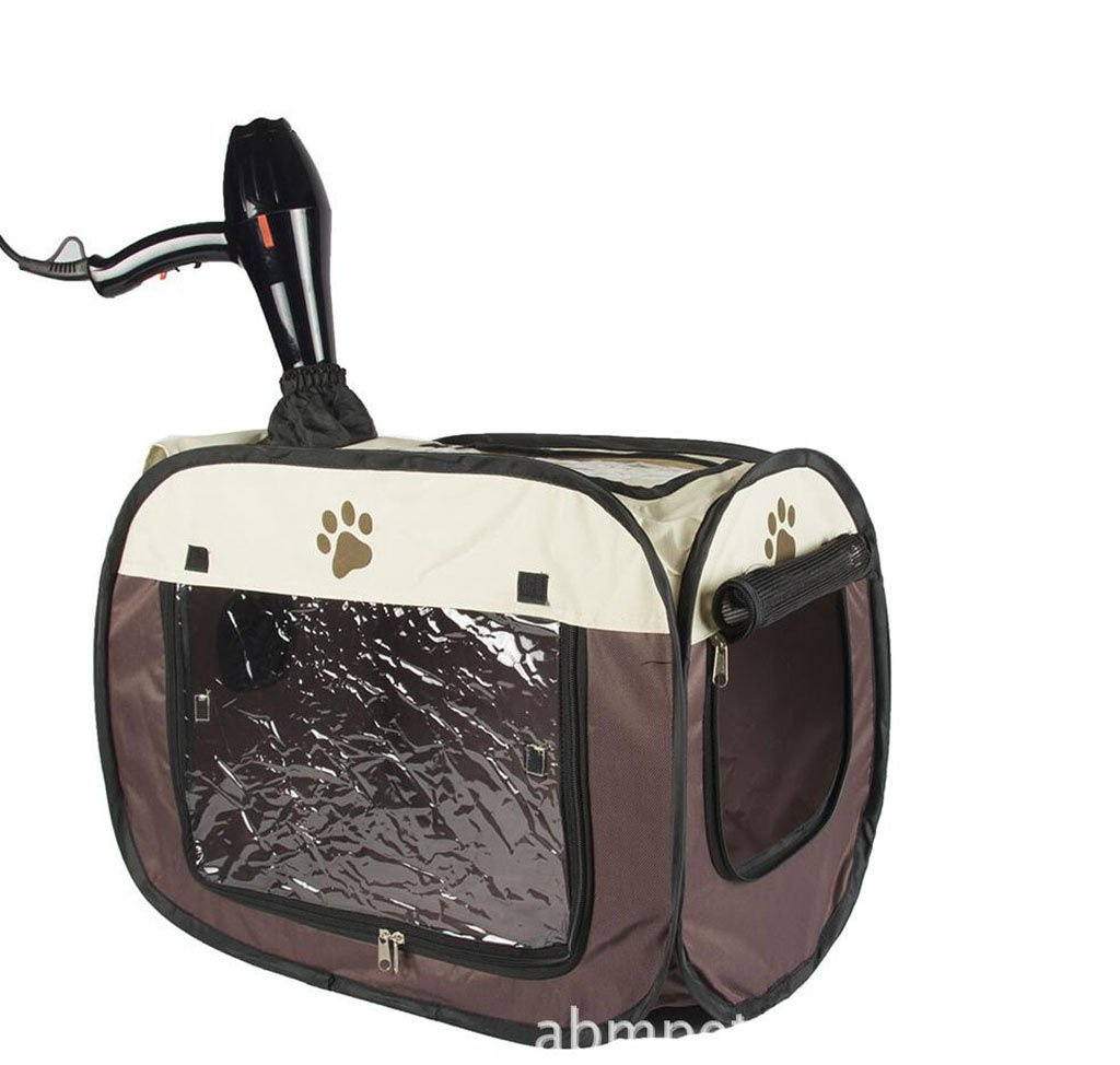 Brown Pet Cat Dog Collapsible Portable Car Drying Box Pet Cage,Brown