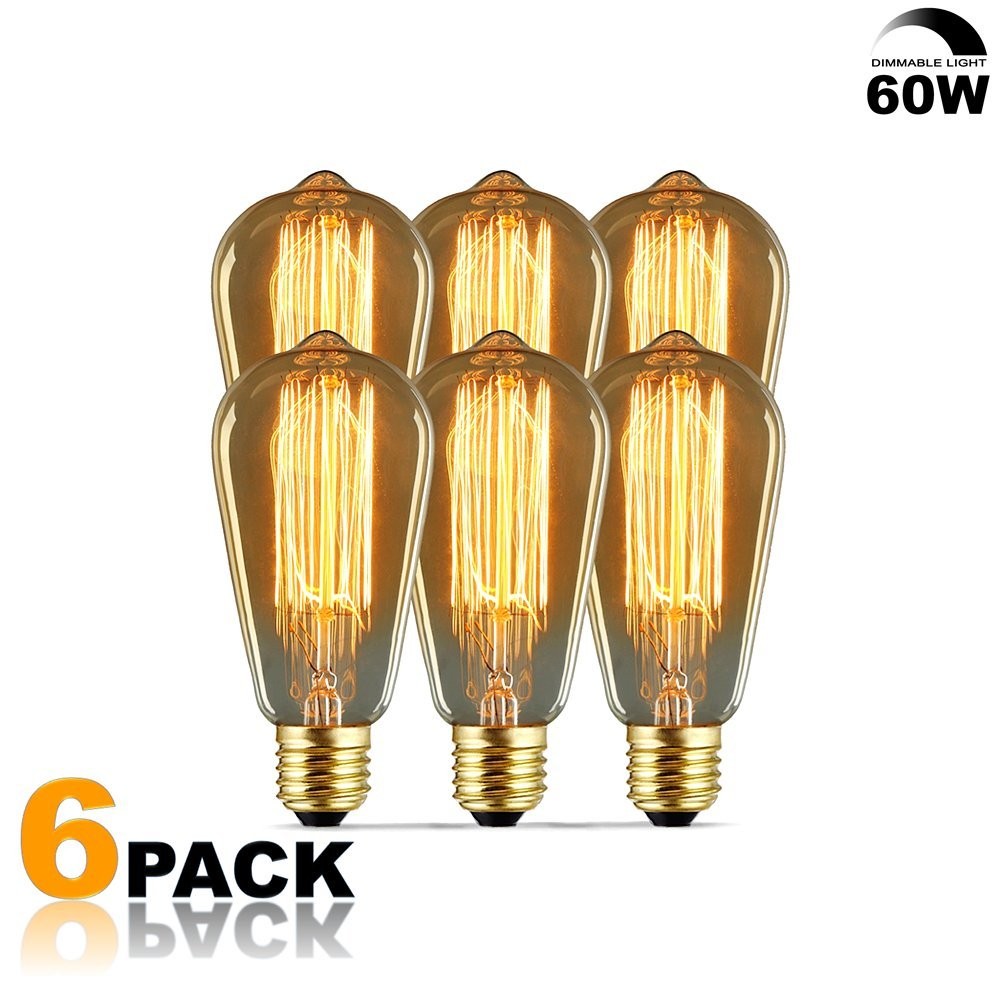 NEW 6 Pack - Modvera 60w Edison Bulb Antique Bulb Vintage Style ST64 2200K Warm White E26 Base Dimmable 370 lumens by Modvera Lighting