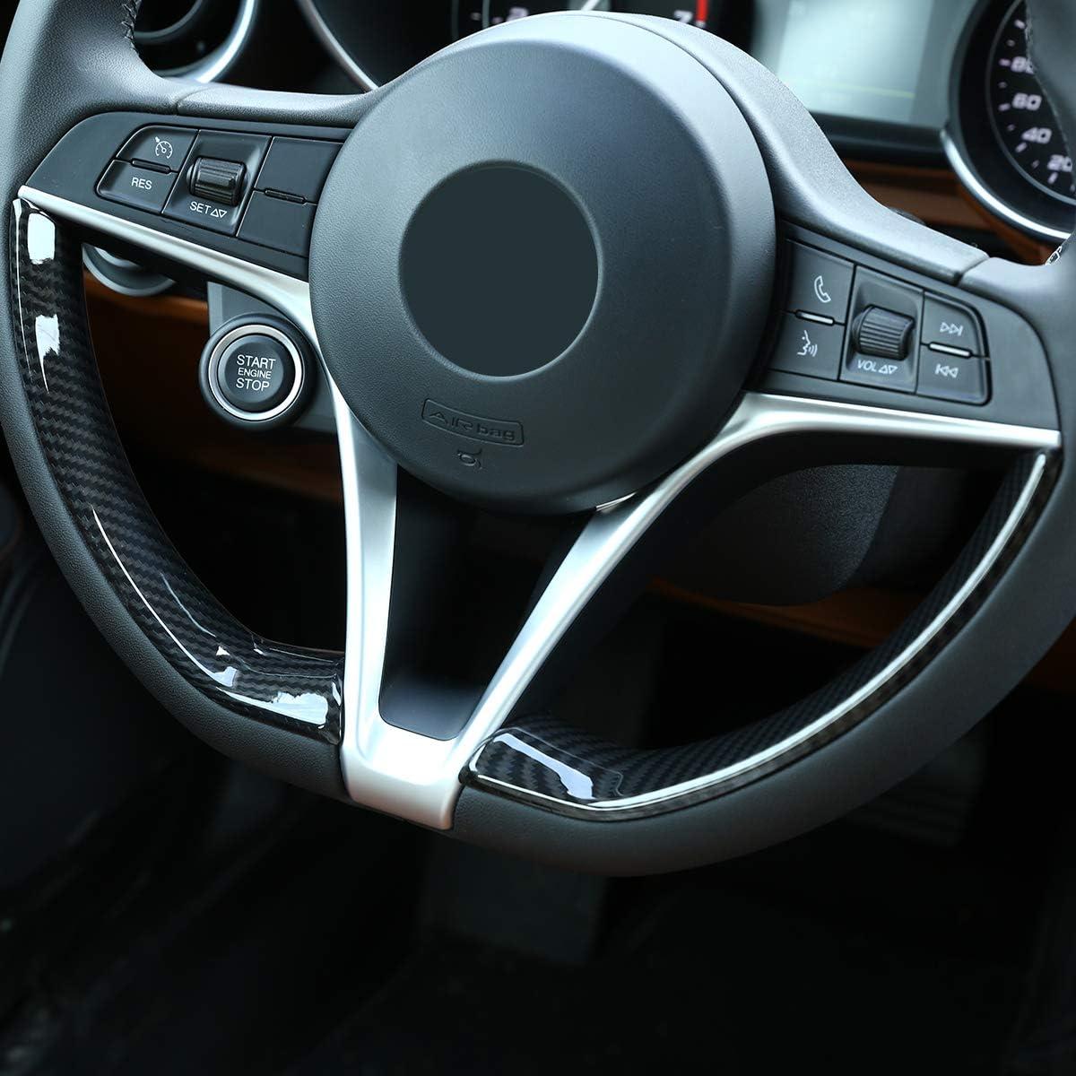 LLKUANG ABS Carbon Fiber For Alfa Romeo Giulia Stelvio 2017-2019 Steering Wheel Frame
