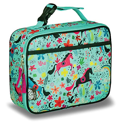 LONECONE Kids' Insulated Fabric Lunchbox - Cute Patterns for Boys and Girls, Moroccan Horses, Standard with Buckle ()