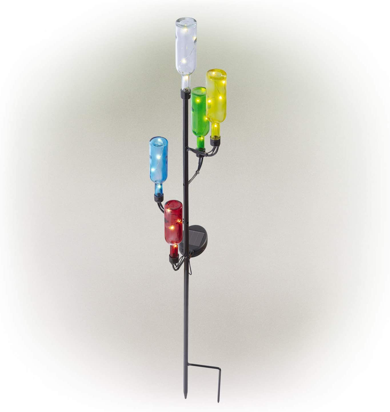 """Alpine Corporation 37"""" Tall Outdoor Solar Glass Bottle Tree Stake LED Pathway Lights"""