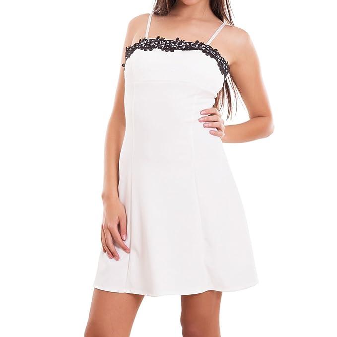 Toocool - Vestito donna miniabito abito corto pizzo coppe svasato zip sexy  nuovo CJ-2209 874974a1271