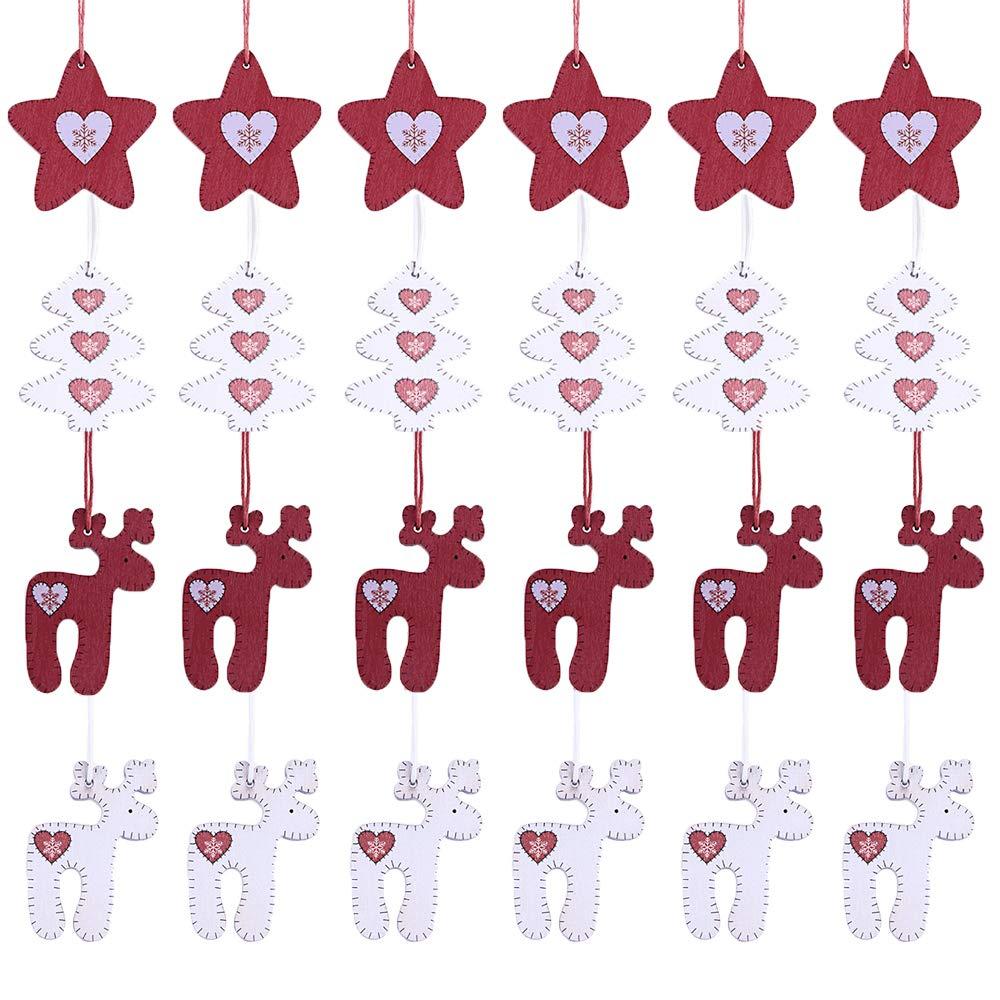 f63cc6ab931 Valery Madelyn Juego de 24 adornos navideños de madera de árbol reno