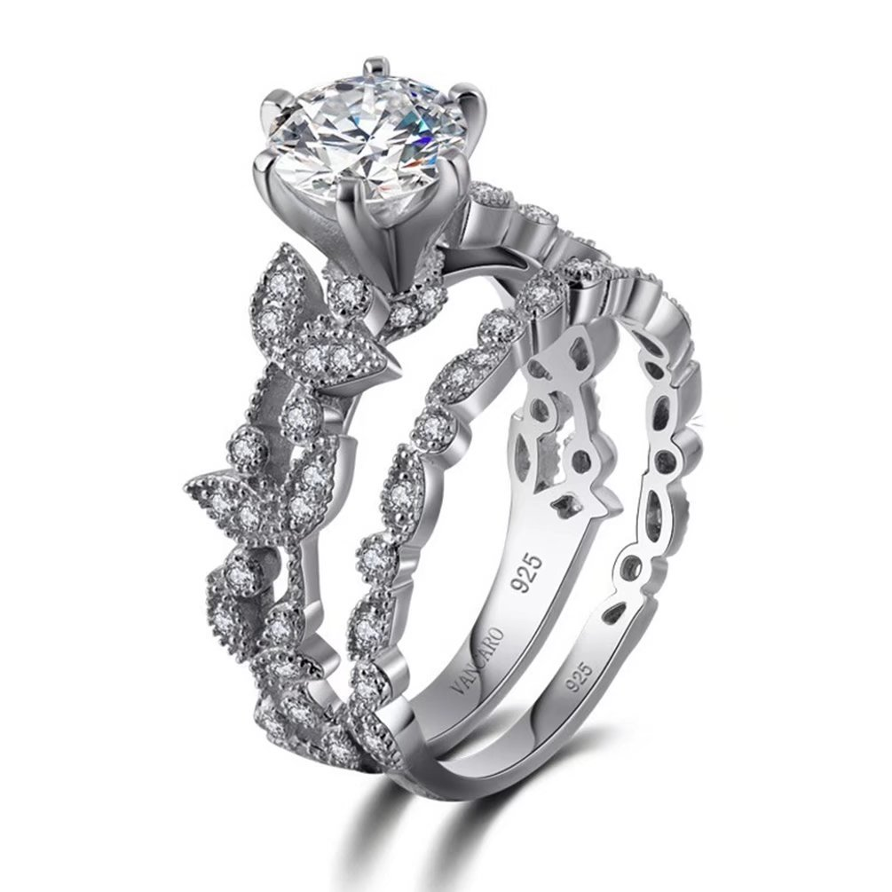 Women's Vintage Leaf Bridal Jewellery Set Round Cut Created 1.8ct White Diamond CZ Solitaire Wedding Ring Sets 18K White Gold Plated Couple Ring Size 7