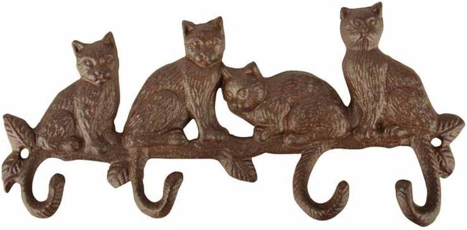 Esschert Design LH180 Cat Hooks - Cast Iron Antique Brown Finish
