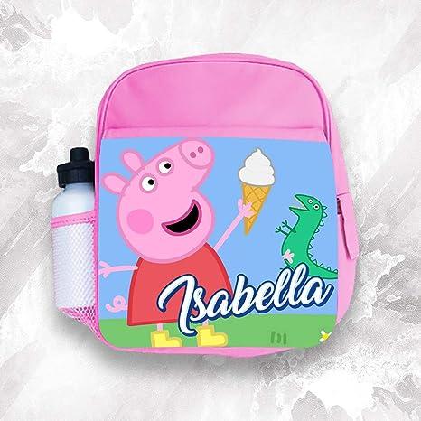Mochila infantil personalizada con cualquier nombre Peppa Pig para niños