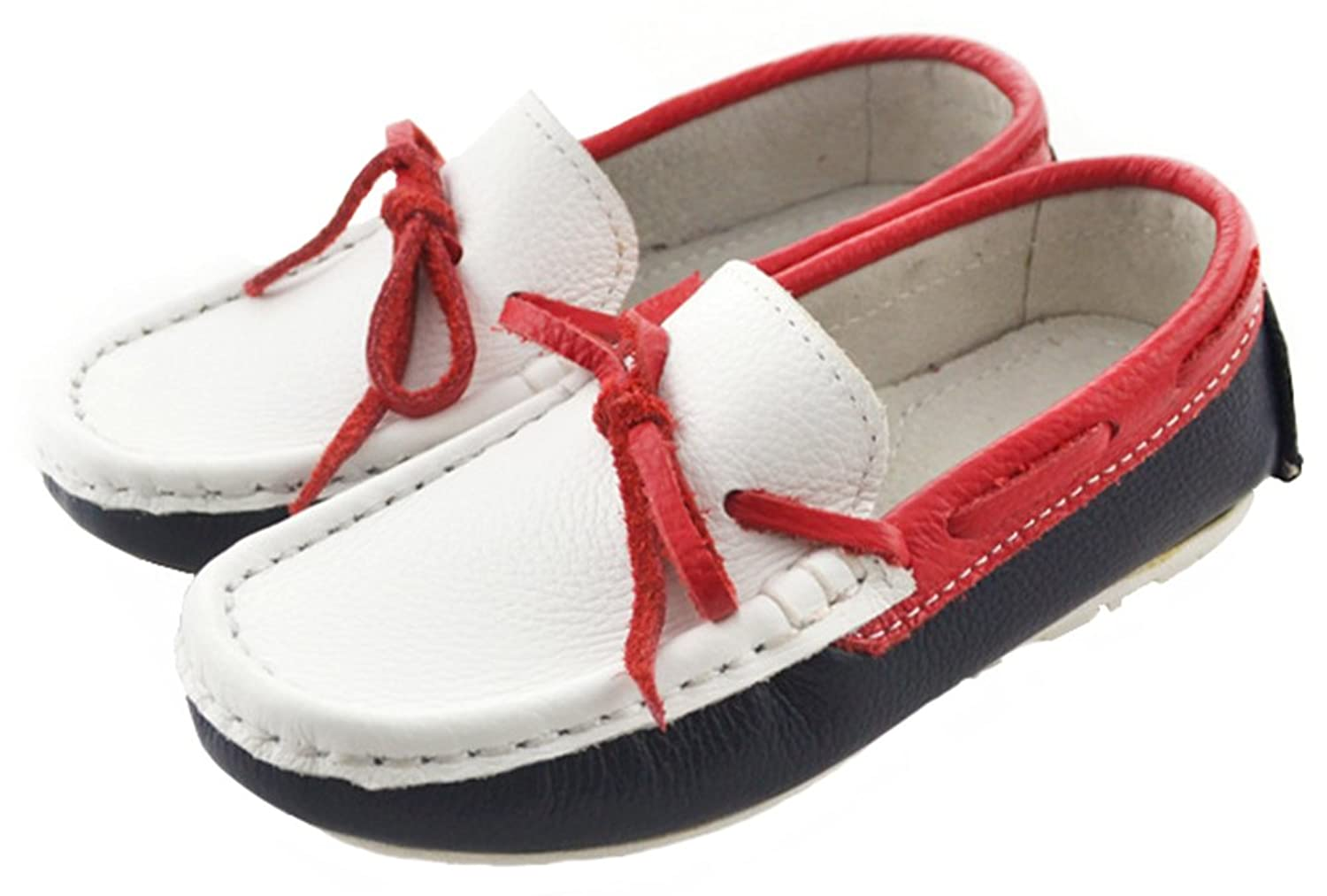 IDIFU Boy's Girl's Unisex Bow Slip On Flat Leather Loafers Soft Bottom Low  Top Sandals